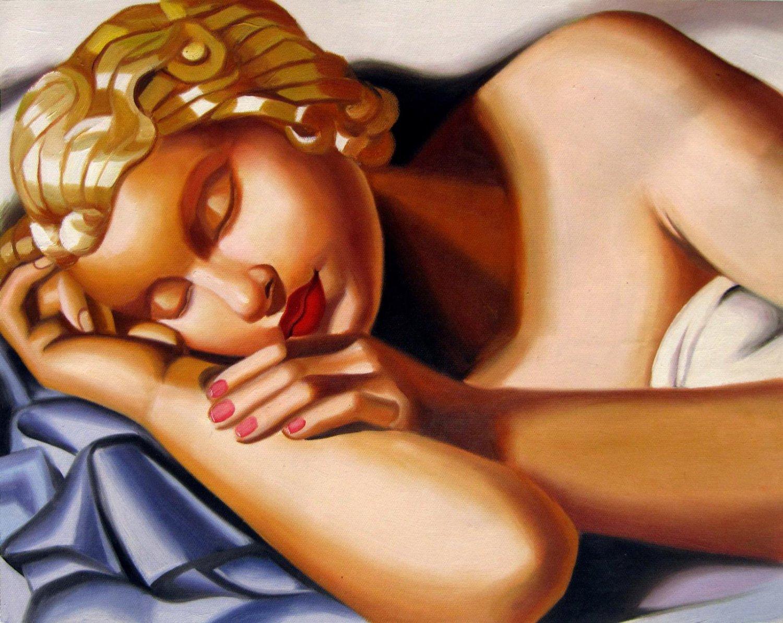 Rep. Tamara De Lempicka 16x20 in. stretched Oil Painting Canvas Art Wall Decor modern11D