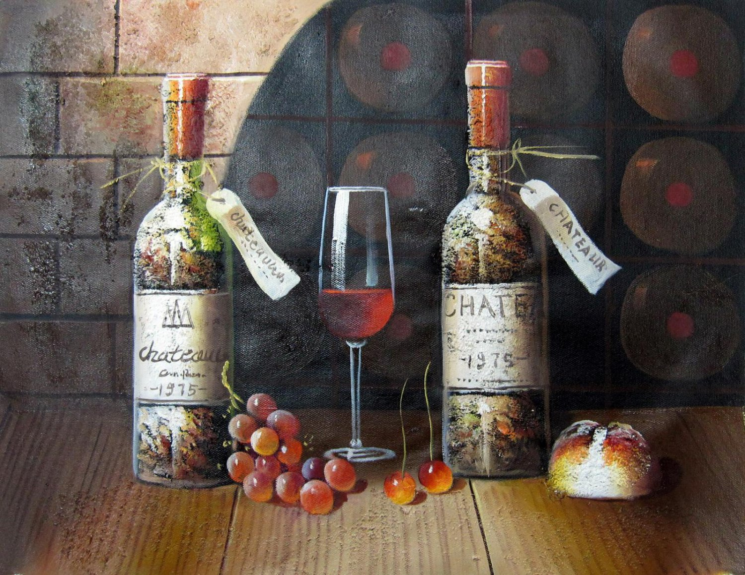 Wine 16x20 in. stretched Oil Painting Canvas Art Wall Decor modern520