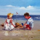 play at the beach 12x24 in. stretched Oil Painting Canvas Art Wall Decor modern312