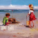 play at the beach 12x24 in. stretched Oil Painting Canvas Art Wall Decor modern316