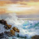 Seawave 12x24 in. stretched Oil Painting Canvas Art Wall Decor modern220