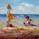 play at the beach 12x16 in. stretched Oil Painting Canvas Art Wall Decor modern143