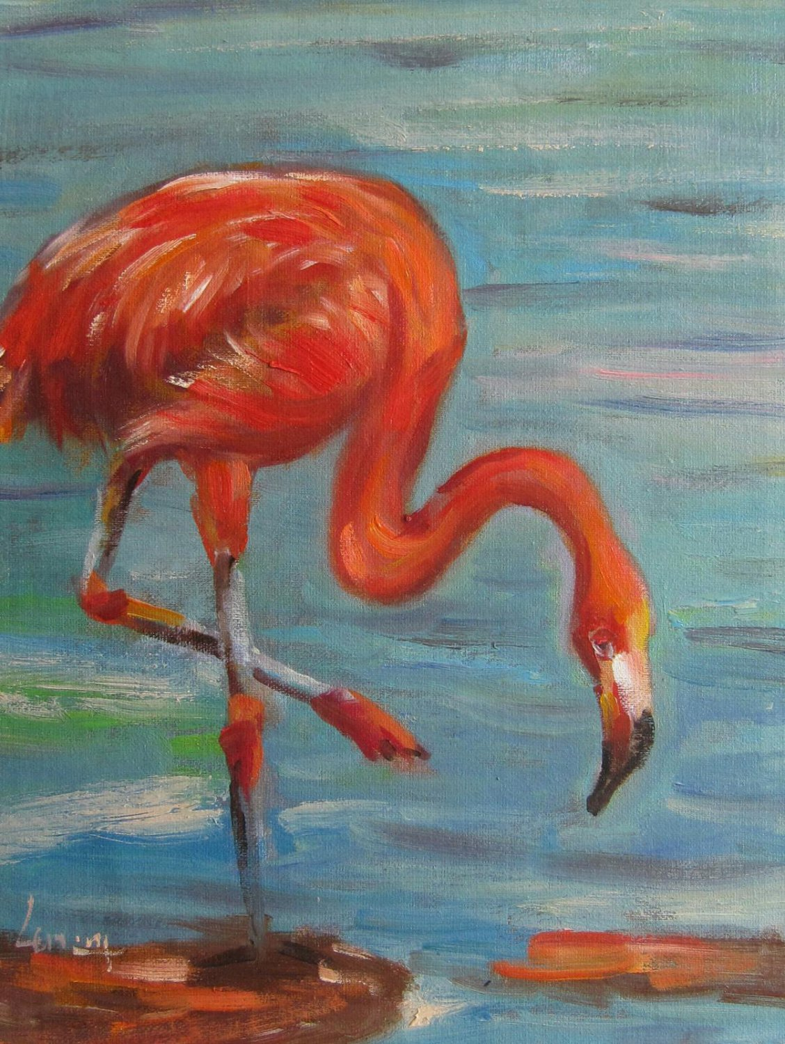 Flamingo 12x16 in. stretched Oil Painting Canvas Art Wall Decor modern001