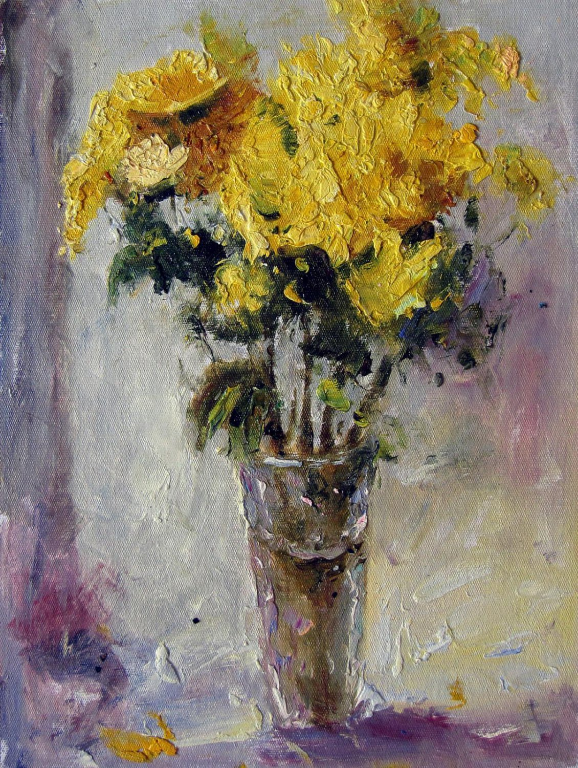 Vase Flower 12x16 in. stretched Oil Painting Canvas Art Wall Decor modern012