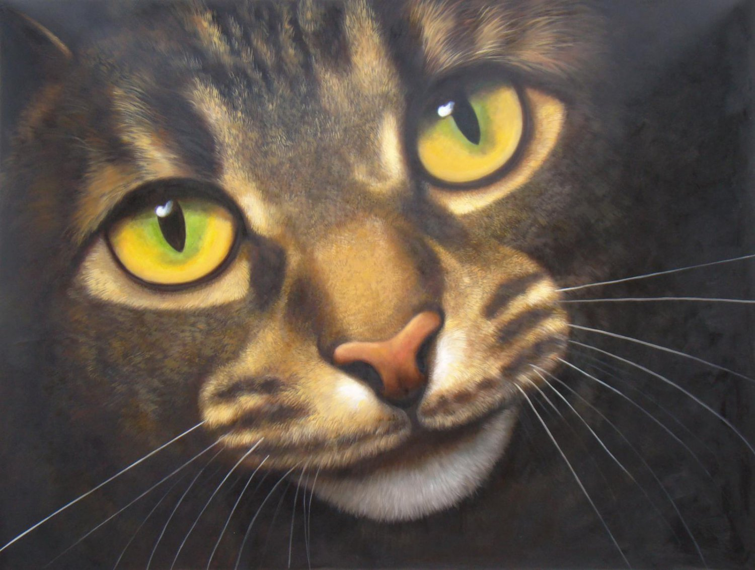 prtrait of pet cat 12x16 in. stretched Oil Painting Canvas Art Wall Decor modern009