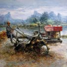 Tractor 36x48 in.  Oil Painting Canvas Art Wall Decor modern01D
