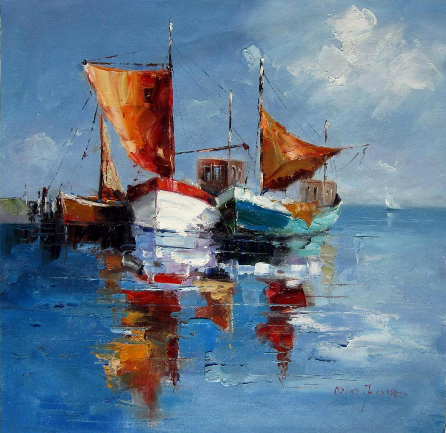 Yawl 31.5x31.5 in.  Oil Painting Canvas Art Wall Decor modern05D