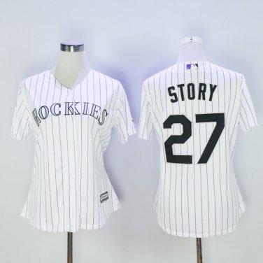 wholesale dealer 6e406 124e2 Women Colorado Rockies 27 Trevor Story Baseball Jersey White ...