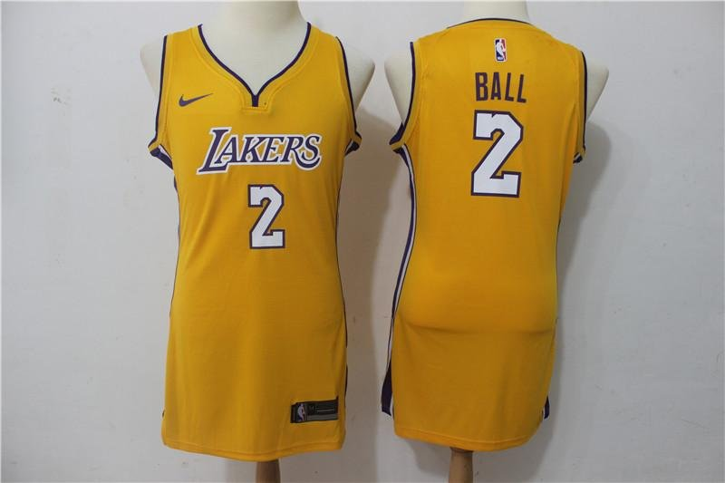 best loved 84271 26299 Lakers #2 Lonzo Ball yellow stitched WoMens Dress jersey