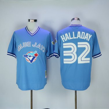 best service 9cd9c 65aba Toronto Blue Jays 32 Roy Halladay Blue 1992 Throwback Cool ...