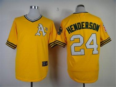 brand new 4f7fa 47752 Oakland Athletics 24 Rickey Henderson Yellow Pullover ...