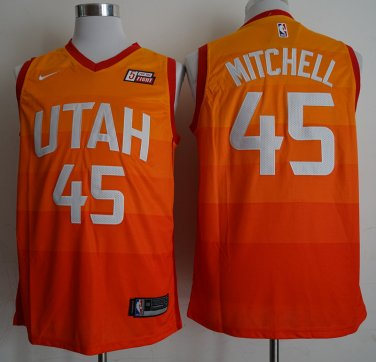 newest ba01f 706ee Utah Jazz 45# Donovan Mitchell Basketball Jersey Rainbow Orange