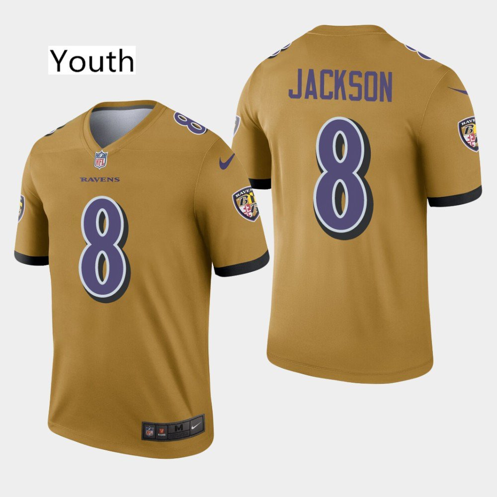 best sneakers 0ad4f c71f0 Youth Baltimore Ravens #8 Lamar Jackson Gold Inverted Legend Limited Jersey  Stitched