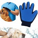 Hair Remover Pet Grooming Glove with Five Fingers, Deshedding cleaning Brush, Left Hand, Blue