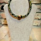 Beaded African Print Necklace, Beaded Fabric Tribal Necklace, Beaded Ankara Necklace, Rope Necklace