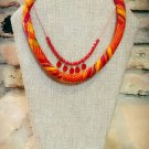 Kente Necklace, Fabric Necklace, Beaded Necklace, Ankara Necklace, Gift for Women, Gift for Her