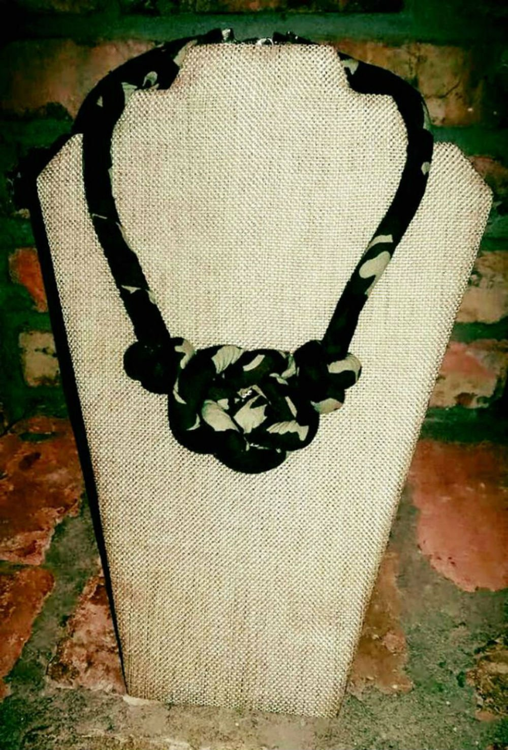 Camouflage Necklace, Fabric Necklace, Tribal Necklace, Ankara Necklace, Gift for Her, Gift for Wife