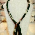 Camouflage Necklace, Fabric Necklace, Rope Necklace, Boho Necklace, Gift for Her, Birthday Gift