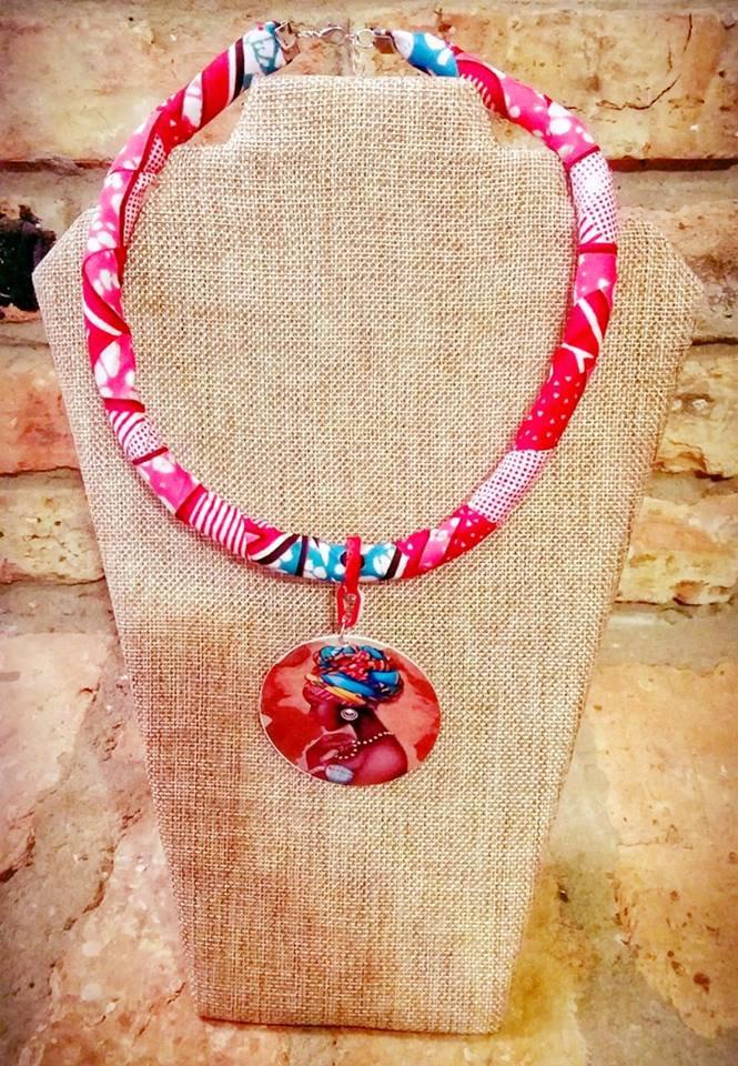 Ankara Necklace, African Queen Necklace, Fabric Necklace, Rope Necklace, Gift for Wife, Gift for Mom
