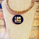Ankara Necklace, I Am Black Excellence Necklace, Fabric Necklace, Gift for Sister, Gift for Mom