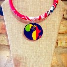 Ankara Necklace, Map of Africa Necklace, Fabric Necklace, Gift for Mom, Handmade Gift for Her