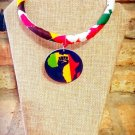 Map of Africa Afrocentric Ankara African Fabric Necklace, Fabric Necklace, Ankara Necklace
