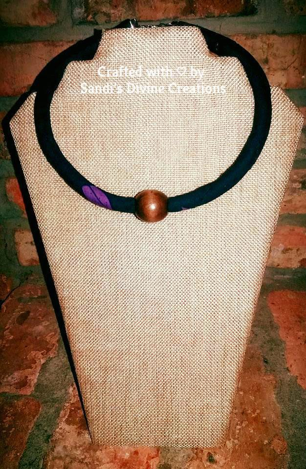 African Print Necklace, Ankara Fabric Necklace, Wooden Bead Necklace, Gift for Her, Gift for friend