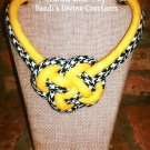 Houndstooth Print Knot Fabric Necklace, Boho Necklace, Tribal Rope Necklace, Boho Fabric Jewelry