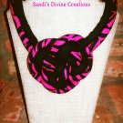 Zebra Print Fabric Statement Necklace, Tribal Statement Necklace, Boho Statement Necklace