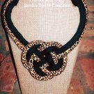 Cheetah Print Fabric Necklace, Ankara, Animal Print Fabric Jewelry, Gift for Her, Gift for Women