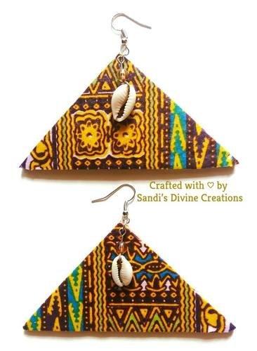 Ankara Earrings, African Print Cowrie Earrings, Beaded Fabric Earrings, Gift for Wife, Gift for Her
