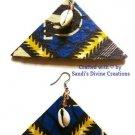 Ankara Earrings, Cowrie Beaded Earrings, Cowrie Tribal Earrings, Gift for Women, Friendship Gift