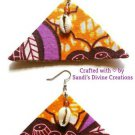 Ankara Earrings, Cowrie Shell Earrings, Beaded Fabric Earrings, Gift for Friend, Gift for Women