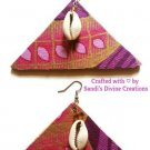 Ankara Earrings, Beaded Cowrie Shell, African Fabric Earrings, Unique Jewelry, Gift for Her