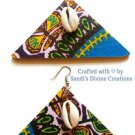 Ankara Earrings, Cowrie Shell Earrings, African Fabric Jewelry, Gift for Mom, Gift for Wife
