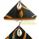 Ankara Earrings, Cowrie Shell Earrings, Fabric Earrings, Tribal Jewelry, Gift for Her, Unique Gift
