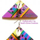 Ankara Earrings, Cowrie Beaded Earrings, African Fabric Jewelry, Gift for Wife, Gift for Mom