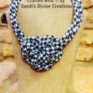 Houndstooth Necklace, Black Houndstooth Necklace, Fabric Rope Necklace, Gift for Women, Unique Gift