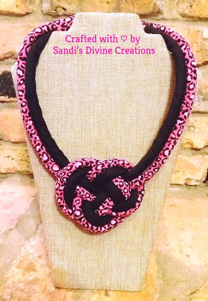 Cheetah Print Necklace, Fabric Necklace, Gift for Her, Cheetah Ginger Print Necklace, Gift for Women