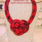Gingham Necklace, Red Gingham Fabric Necklace, Ankara Necklace, Gift for Friend, Gift for Women