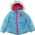 NWT Dreamworks Trolls Blue Faux Fur Girls Winter Warm Puffer Coat Size 4 5 6