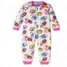 NWT White And Pink Shopkins Sleeper Pajamas Size 4 5 6 6X 7 8