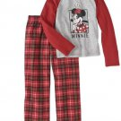 NWT Disney Girls Minnie Mouse 2Pc Pajama Set Red And Gray Sizes 6 8 10