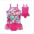 NWT Shopkins Tutu Girl's Pink Bathing Suit Swimsuit Swimwear Sizes 3 4 5 6 7 8