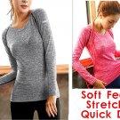 Plus sport gym top long sleeve women blouse slim fitness elastic yoga T-shirt