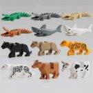 12pcs Minifigures Animals Panther Leopard Crocodile Tiger Cow Jaguar Shark Lego compatible