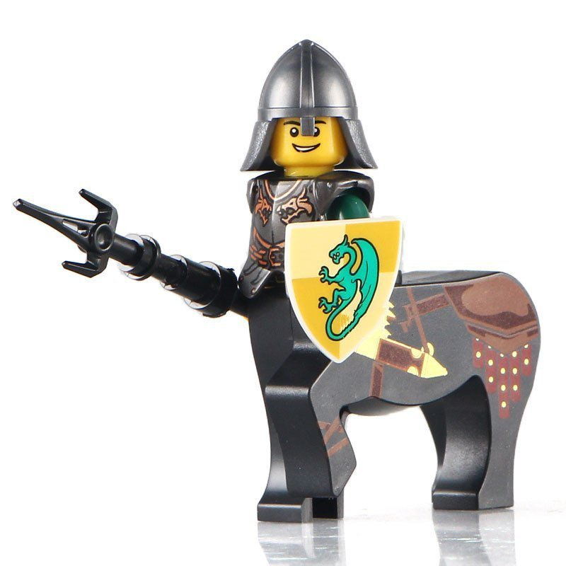 Minifigure Medieval Centaur with Spear Green Dragon Knight Castle Lego compatible Building Blocks