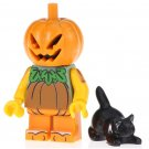 Minifigure Halloween Pumpkin with Black Cat Horror Lego compatible Building Blocks Toys