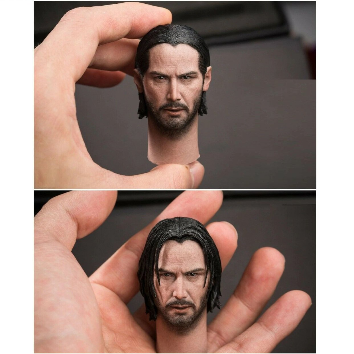 1/6 John Wick Head (with 2 Hair Version) Keanu Reeves for 1/12 Action Figures Toys Hobby Games