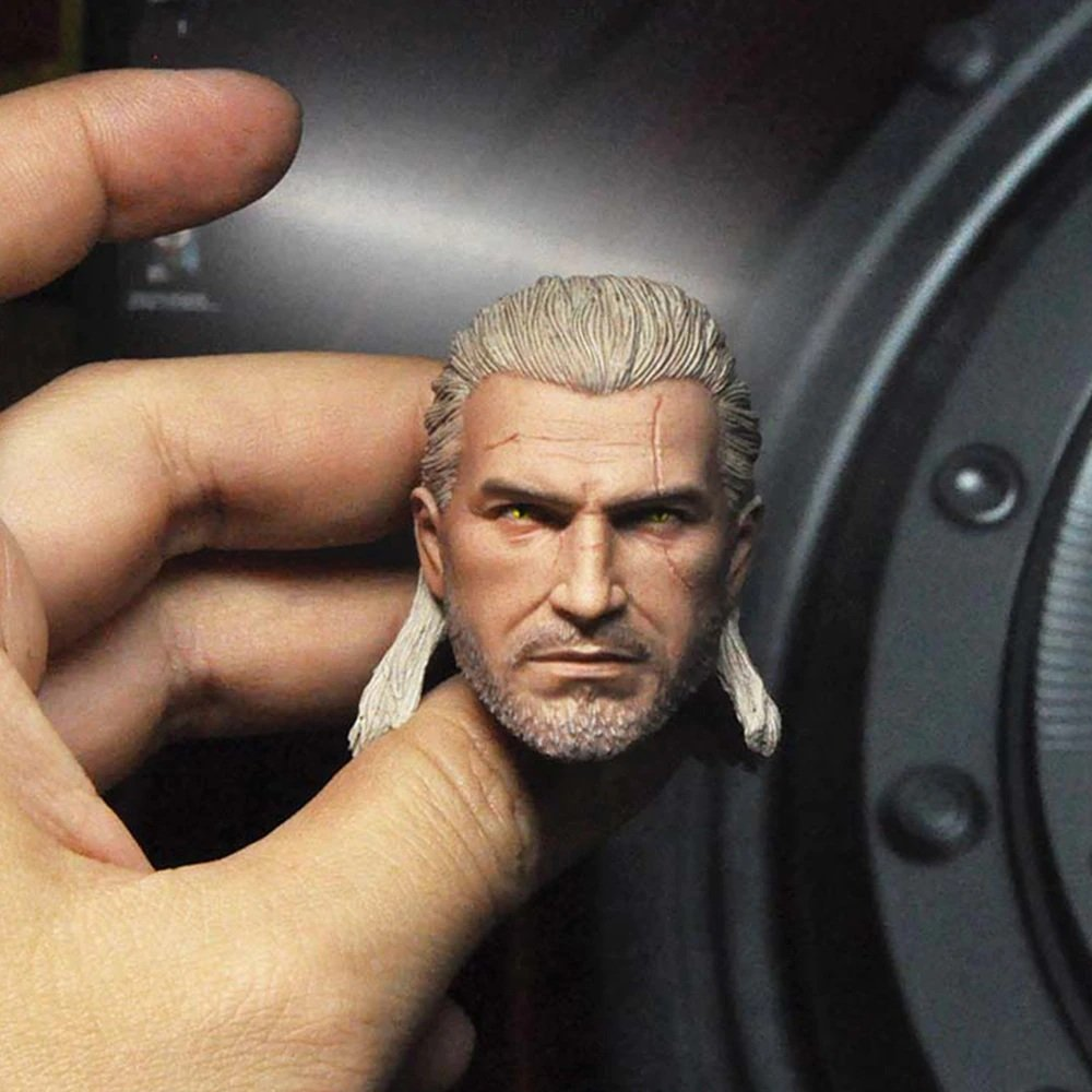1/6 Geralt of Rivia Head The Witcher 3: Wild Hunt Game for 1/12 Action Figures Toys Hobby Games